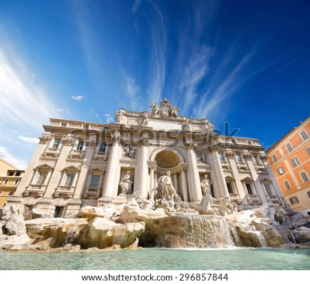 view of The Famous Trevi Fountain, rome, Italy  - stock photo