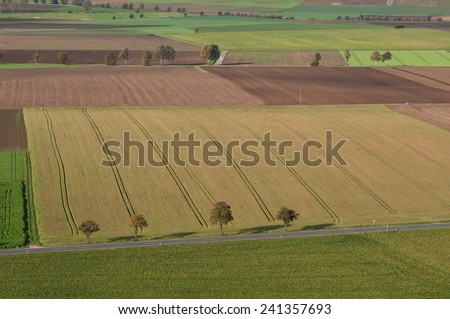 View of the farm fields in in autumn. Landscape.