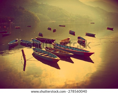 view of the Fewa lake in Pokhara - stock photo