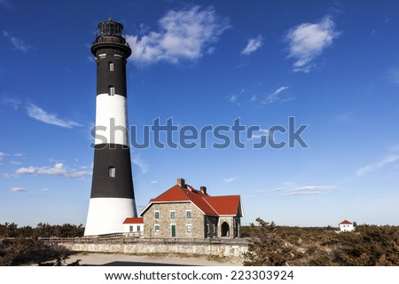 View of the Fire Island Lighthouse. Fire Island, Long Island, New york.  - stock photo