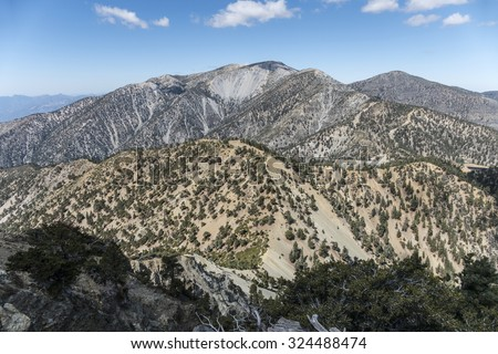 View of the 10,068 foot Mt Baldy summit.  The highest peak in Los Angeles County California.   - stock photo