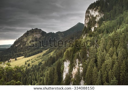 View of the Forest near the Neuschwanstein Castle from the hills above the Castle. - stock photo