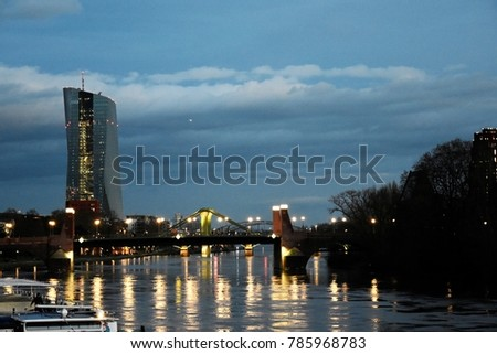 View of the Frankfurt East Bridge - Germany