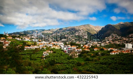 view of the Funchal's suburb, Madeira island, Portugal