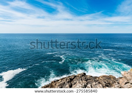 View of the Galician coast and Atlantc Ocean from the Castro de Barona, a fort located in the parish of Barona in A Coruna.