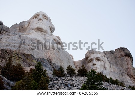 View of the George Washington and Abraham Lincoln at the Mount Rushmore monument in South Dakota