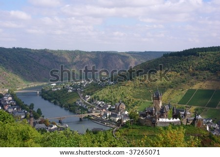 View of the German town of Cochem in the Moselle Valley wine region - stock photo
