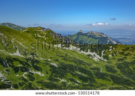 View of the Giewont mountain and the Kasprowy Wierch mountain in the High Tatra Mountains, Poland