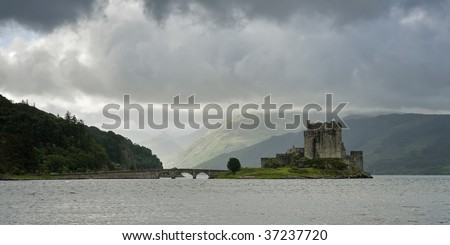 View of the gloomy Eilean Donan castle in Scotland