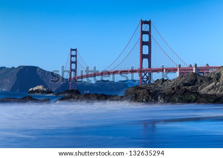 View of the Golden Gate Bridge from the Beach