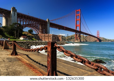 View of the Golden Gate Bridge from the Park - stock photo