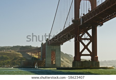 View of the Golden Gate Bridge in the Bay of San Francisco, California - stock photo