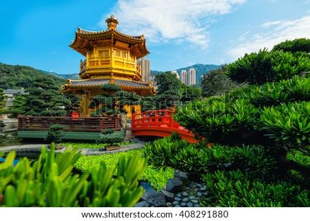 View of The Golden Pavilion Temple in Nan Lian Garden - stock photo