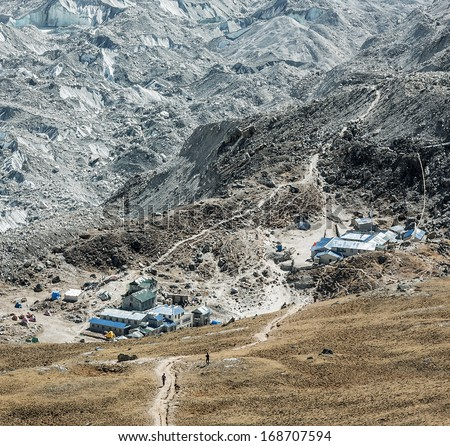 View of the Gorak Shep village from Kala Patthar - Everest region, Nepal, Himalayas - stock photo