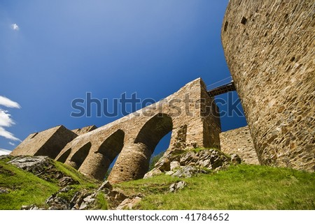 View of the gothic ruined castle in Velhartice, Czech Republic - stock photo