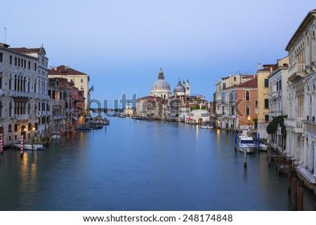View of the Grand Canal and Basilica Santa Maria della Salute, Venice, Italy - stock photo