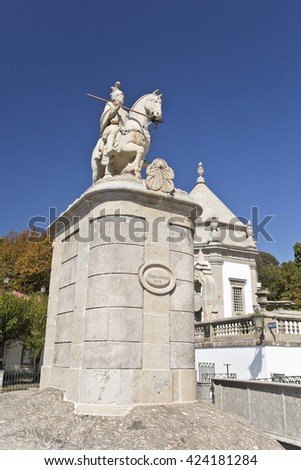 View of the granite equestrian statue representing Saint Longinus, the Roman soldier who pierced Jesus and is believed to have converted to Christianity after the Crucifixion.  - stock photo