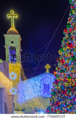 view of the greek orthodox church of the annunciation with christmas decorations and a