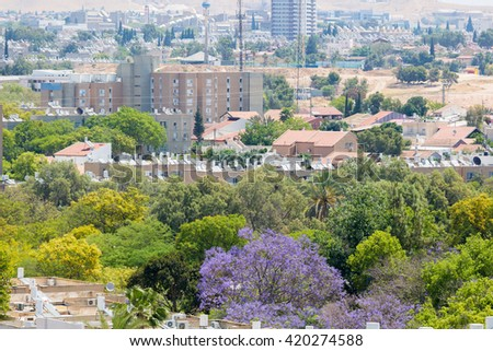 View of the green zone in Beersheba - stock photo
