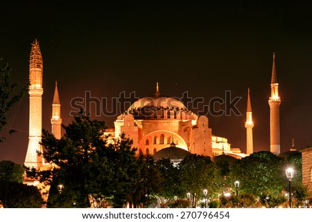 View of the Hagia Sophia at night in Istanbul, Turkey