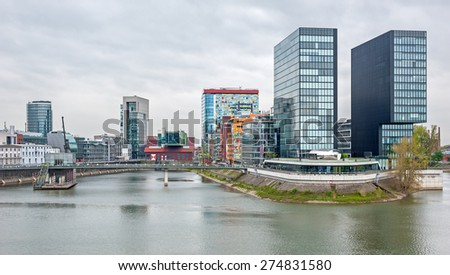 View of the harbor of Dusseldorf in Germany - stock photo