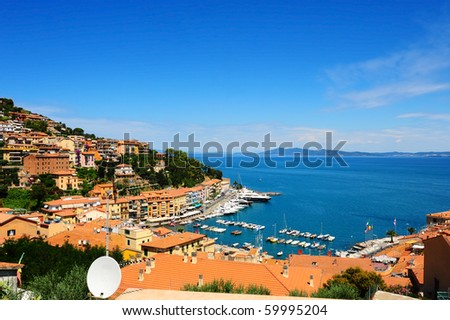 View Of The Harbor Porto San Stefano From Tiled Roofs