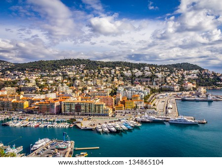 View of the harbour from the Castle Hill, Nice, France - stock photo