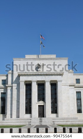 View of the headquarters of the Federal Reserve in Washington, D.C. - stock photo