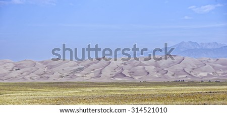 View of the high dunes of the Great Sand Dunes National Park & Preserve, which is located near Alamosa, Colorado - stock photo