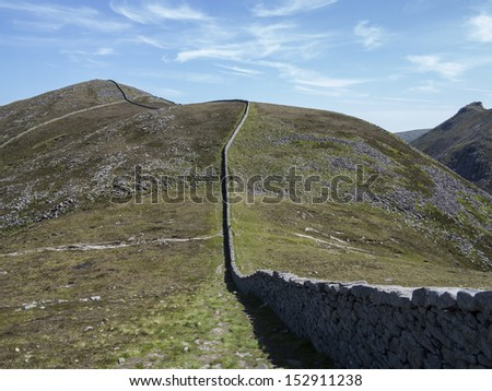 view of the highest mountain in Northern Ireland Slieve Donnard - stock photo