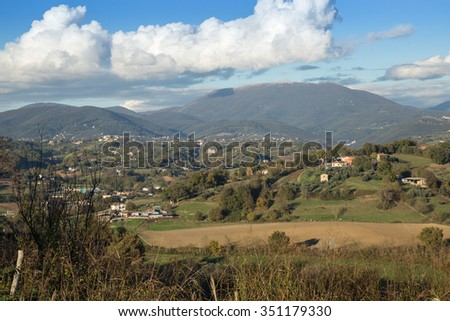 View of the hills of SabiView of the hills of Sabina, Lazio, Italyna, Lazio, Italy - stock photo