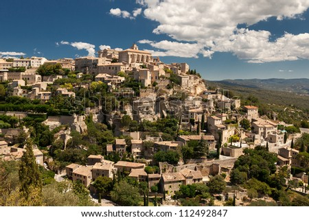 View of the hilltop village of Gordes, Vaucluse, Provence, France