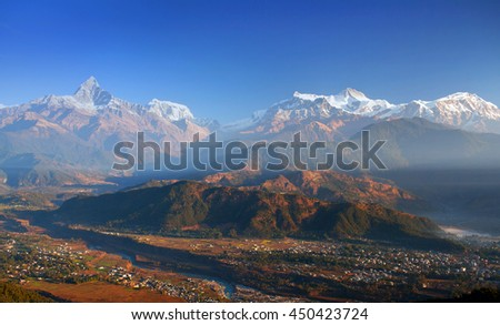 View of the Himalayan mountains from Sarangkot hill, Pokhara, Nepal