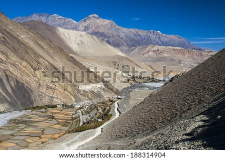 view of the Himalayas surrounded the village Kagbeni  - stock photo