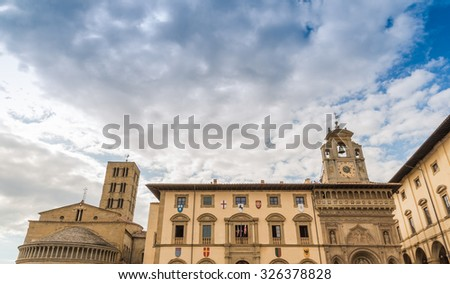 View Of The Historic Center Of Arezzo Piazza Grande, Italy - stock photo