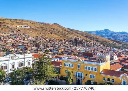 View of the historic center of Potosi, Bolivia overlooking the Plaza 10 de Noviembre - stock photo