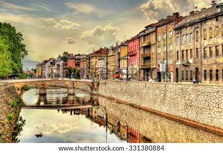 View of the historic centre of Sarajevo - Bosnia and Herzegovina - stock photo