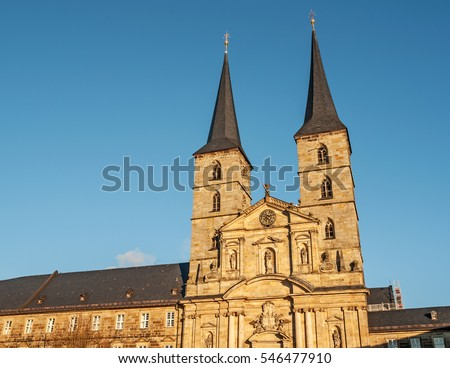 "View of the historic church and monastery ""Sankt Michael"" of Bamberg in Bavaria"