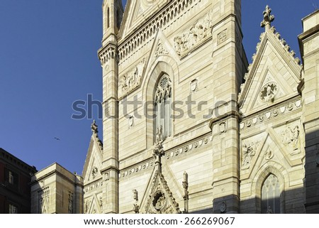 "View of the historic church ""Duomo di San Gennaro"" of Naples in Italy"