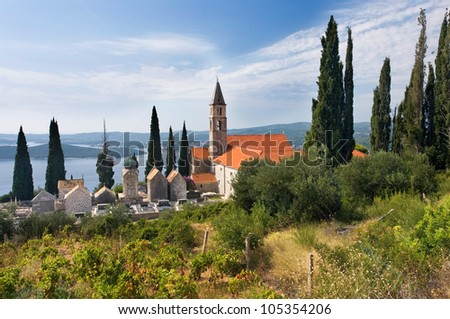 View of the historic church in Orebic, Croatia, a lot of cypress