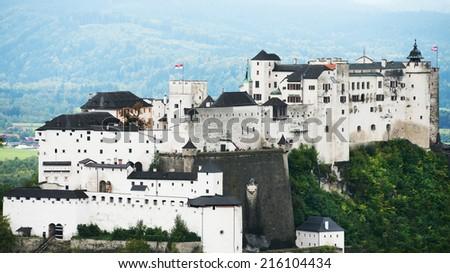 View of the historic city of Salzburg with Hohensalzburg Fortress, Salzburger Land, Austria - stock photo