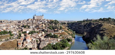 View of the historic city of Toledo from the other bank of the river Tagus - stock photo