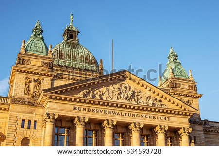 View of the historic courthouse of Leipzig in Germany