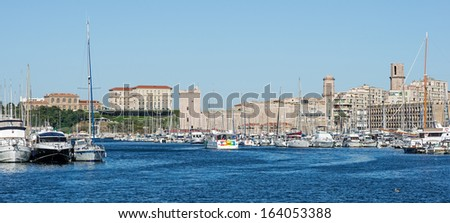 """View of the historic harbor """"Vieux Port"""" in Marseille in South France - stock photo"""