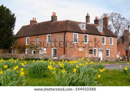 View of the historic home of author Jane Austen (1775-1817) in Chawton, Hampshire.  The Georgian house is now open to the public. - stock photo