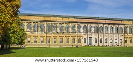 """View of the historic palace and museum """"Alte Pinakothek"""" in Munich in Bavaria - stock photo"""