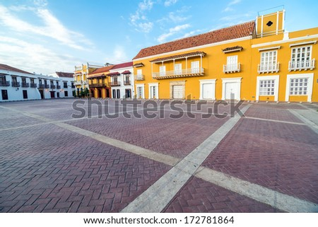View of the historic Plaza de la Aduana in the colonial center of Cartagena, Colombia - stock photo