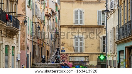 """View of the historic quarter """"Le Panier"""" in Marseille in South France - stock photo"""