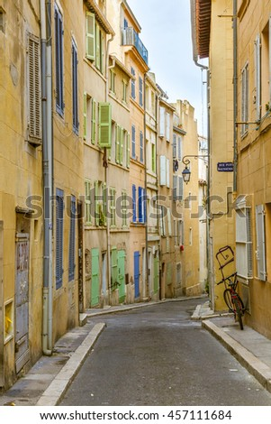 View of the historic quarter Le Panierin Marseille in South France