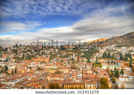 View of the historical city of Granada, Spain from the Alhambra fortress in HDR - stock photo